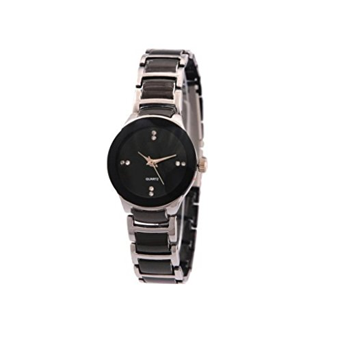 Watch for Women (Rjcreation Black Dial Round Analogue Watch For Women-W-IIK-Silver-RJ)