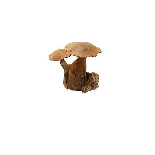 Plob 1090050Pilze Deko Figur 2auf Wurzel, Natur, 25x 27x 25cm -
