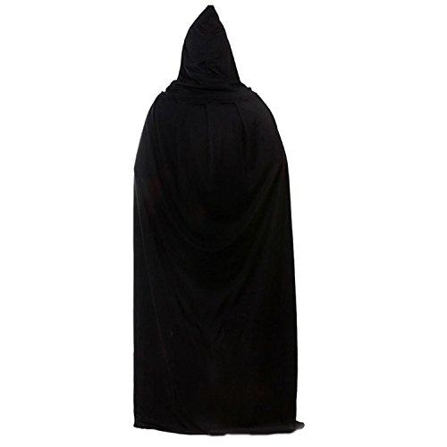 Vococal® - Mantello Morte Costume Wicca Mantello Lungo con Cappuccio per Adulto Halloween Mantello Nero
