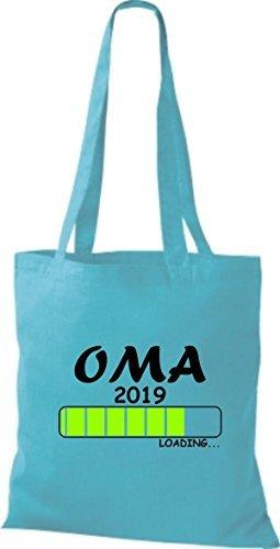 Borsa Tote Bag In Cotone Tinta Unita Oma 2019 Sky