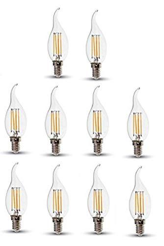 V-TAC LED filament Flame punta bombillas de vela - Pack de 10 unidades - blanco cálido 2700 K, E14/SES/rosca Edison pequeña - 4 W - /400 lúmenes