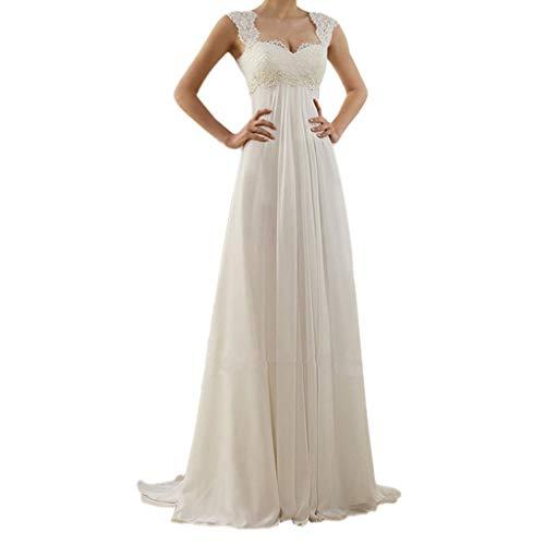 der Hochzeitskleider Lang Weiß Sexy V-Ausschnitt Rückenfrei Spitzenkleid für Brautjungfer Hochzeit Abend Party Standesam Kleider (Weiß C, L) ()