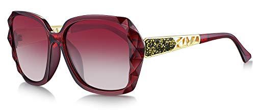WHCREAT Damen Übergröße Polarisierte Sonnenbrille Funkelndes Design Stilvoll Brillen (Rot Rahmen - Rot Linse)