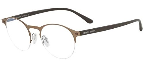 Giorgio Armani - FRAMES OF LIFE AR 5064, Rund, Metall, Herrenbrillen, BRUSHED MATTE BROWN(3006), 49/20/150