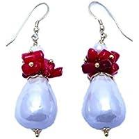 Orecchini Chic in Perle di fiume e Corallo Rosso, Pendenti, Handmade, Eleganti
