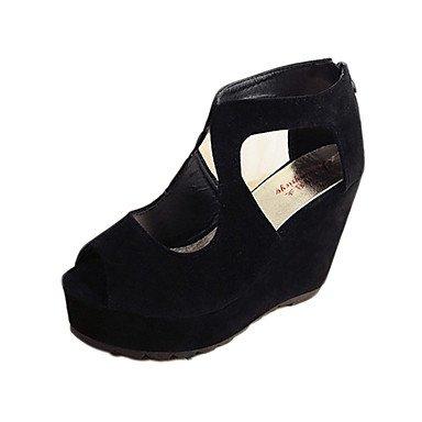 LvYuan Sandalen-Kleid Lässig-Stoff-Flacher Absatz Keilabsatz-Komfort-Schwarz Blau Black