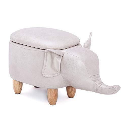 Tierhocker Polsterhocker Kinderhocker Massivholz Fußhocker Sofa Hocker Sitzhocker mit Stauraum PU Ottomane Aufbewahrungsbox für Schlafzimmer Wohnzimmer, 61 × 35 × 28 cm, Elefant-förmiger Entwurf