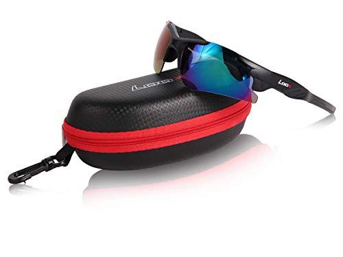 Loox Sonnenbrille Aspen Sportbrille UV400 Schutz Herren Damen Sport - Gläser aus Polycarbonat - stabiles Gestell, 143-3 schwarz multi