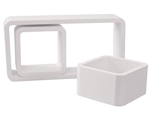 GHC Wandregal Cube Regal 3er Set Bücherregal Regalsysteme, Retro Hängeregal Würfel, weiß - Mango Holz Wand Regal