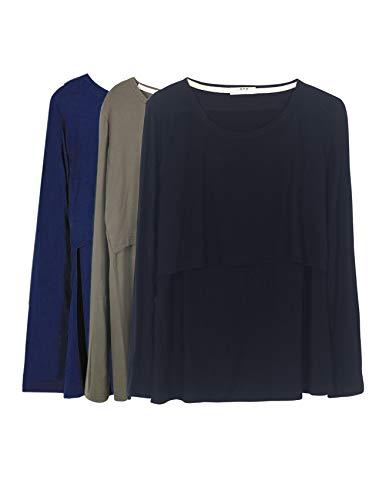 Smallshow Damen Still-Tops Bequemes Langarm Stillen T-Shirt X-Large Armee-Grün/Navy/Schwarz (Baumwolle) -