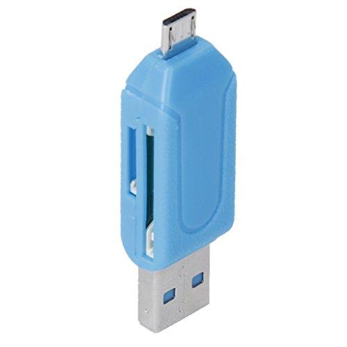Angelo CaroTMUSB 2.0 + Micro USB OTG SD ST Lector De Tarjeta Para Teléfono Celular Tableta PC (Azul)