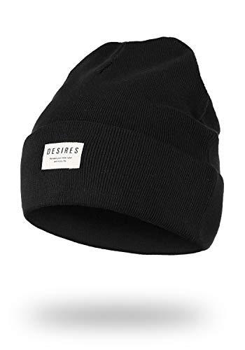 DESIRES DESIRES Biene Damen Wintermütze Beanie Mütze Aus 100% Baumwolle Strick Mit Logobadge, Größe:ONE Size, Farbe:Black (9000)