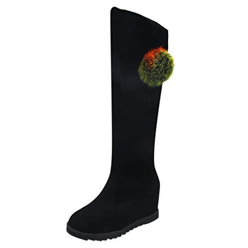 Damen Winter Stiefel 2019 Frauen auf dem Knie elastische Stiefel Stiefel Schuhe sexy Mittelrohr Keil Schuhe Stiefel Warm Stylisch Ausgehen Wild Jeden Tag Schuhe(Schwarz,40 (Wildleder Keil-knie-boot)