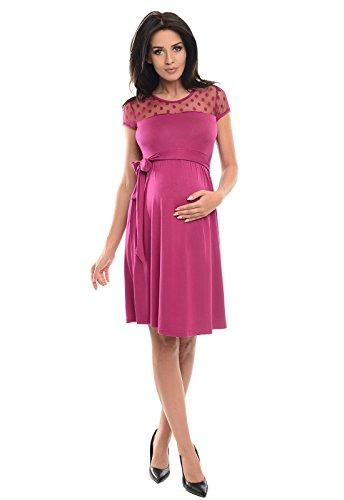 Pinkes Umstandskleid mit Schleife knielang kurzärmelig