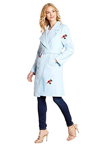 Trench Coat with Floral Embroidery - Floral Damen Trench Coat