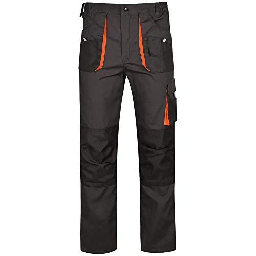 DINOZAVR Atlas Pantaloni da Lavoro multitasca Extra Resistenti - Uomo - Grigio Scuro/Nero/Arancione - L