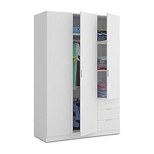 armario: Habitdesign LCX323O - Armario ropero de Tres Puertas y Tres cajones, Color Blanc...
