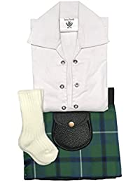 Douglas Ancient tartán ropa de bebé ajustable de estilo celta, manguera, Sporran 0–24meses