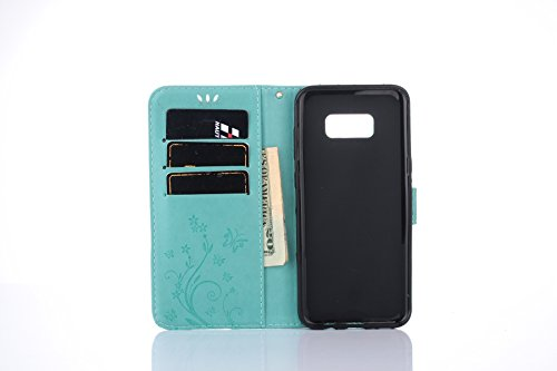 Custodia Galaxy S8, Galaxy S8 Cover Flip, SainCat Custodia in Pelle Cover per Samsung Galaxy S8, Ultra Sottile Anti-Scratch Book Style Custodia Morbida Protettiva Cover Ultra Soft PU Leather Cover Boo Verde