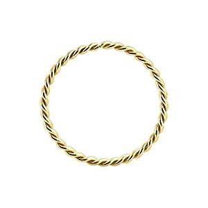 9K Gold 22 Gauge – 8MM Durchmesser kontinuierliche Twister Hoop Nase Nase Piercing Ring