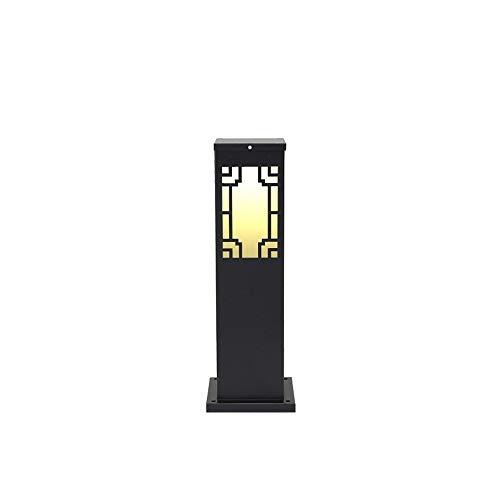 1-Licht im Freien Garten Post Laterne Aluminiumguss Säule Leuchte Ein-Licht-Mast Mount Light Mattschwarzes Finish Patio Wasserdicht IP65 Traditionelle E27 (Größe : 20 * 60cm) -