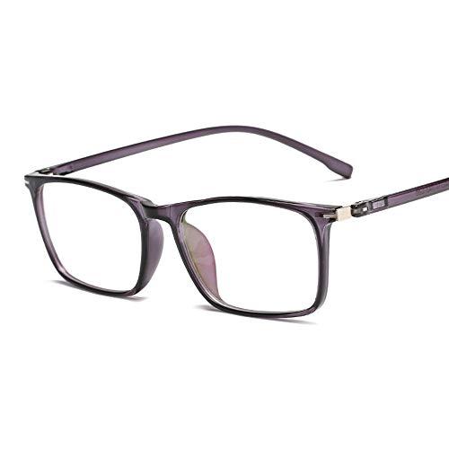 Fashion Square Frame TR90 Rahmen Ultra Light Computer Brille Anti Blu Ray Plain Brille Brille (Color : Lila, Size : Kostenlos)