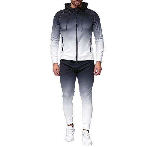 HULKY Herren Herbst Sport Anzug Trainingsanzug Farbverlauf Färben Hoodie Langarm Reißverschluss Slim Bodybuilding Sweatshirt Komfortables Top Hosen Sets (weiß,L)