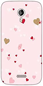 Snoogg heart pattern pink Designer Protective Back Case Cover For Micromax A116