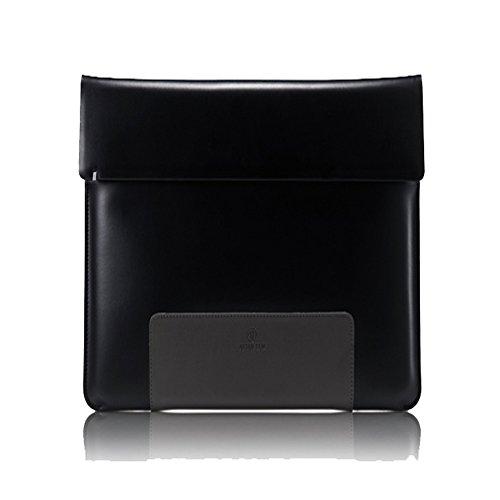 afterten Zwei Ton MacBook Air 33cm Ultrabook Leder Tasche Schwarz (Premium Rolling Laptop Case)