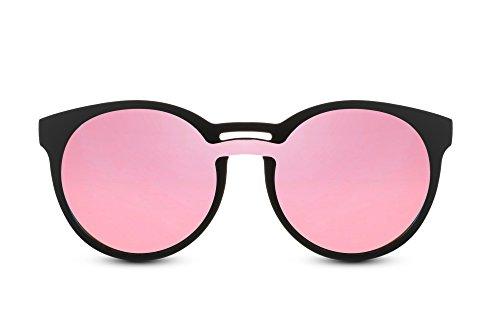 Cheapass Rund-e Sonnenbrille Matt-Schwarz Pink Verspiegelt-e Linsen Doppelte Nasenbrücke UV-400 Hipster Festival Zubehör Plastik Unisex