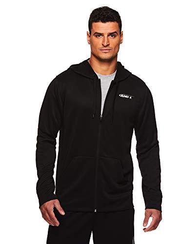 AND1 Herren Kapuzenpullover mit Reißverschluss - Kapuzenpullover Basketball & Activewear Leichte Jacke - schwarz - Groß -