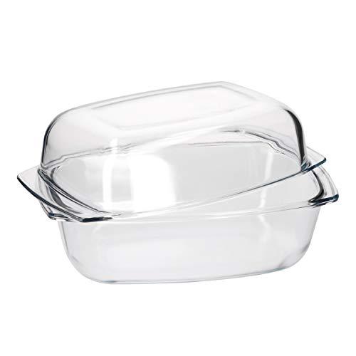 Van Well Brat- und Backform 4 Liter + Deckel 3 Liter I große Auflaufform eckig I Glas-Bräter I hitzebeständiges Kochgeschirr I Gastro-Qualität I backofentauglich