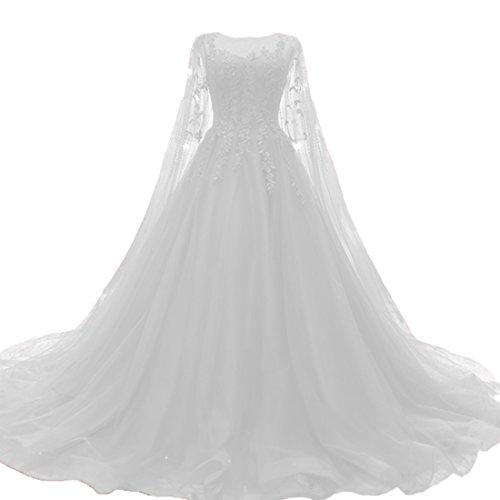 O.D.W Damen Tuell Spitze Vintage Brautkleider Lange Boho Rustikale Hochzeitskleider (Elfenbein, 32)