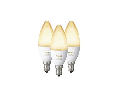 Philips Hue White Ambiance E14 LED Kerze Dreierpack, dimmbar, alle Weißschattierungen, steuerbar via App, kompatibel mit Amazon Alexa [Energieklasse A+], 3-er Pack
