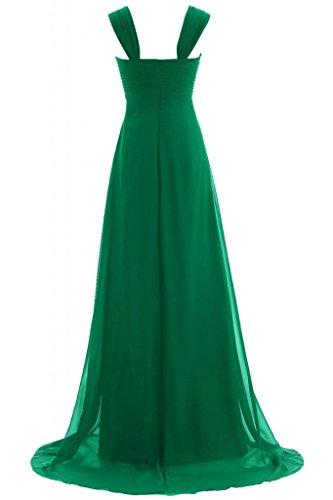 Sunvary elegante Empire vita Evening Dresses Sweetheart Chiffon Prom Gowns collo lungo Verde scuro