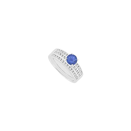 Created Sapphire Engagement Ring with Wedding Band CZ Channel set in 14K White Gold 1.15 CT