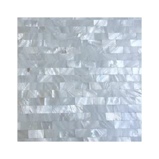 Art3d Peel and Stick Mother of Pearl Shell Tile for Kitchen Backsplashes, 12 x 12 White Brick by Art3d