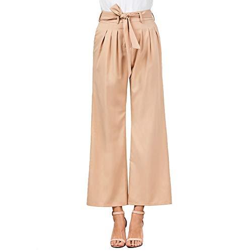 8f2787313565 LXIANGP Pantaloni Larghi delle Gambe delle Donne, Pantaloni a Vita Alta  Diritta con Cinture Pantaloni