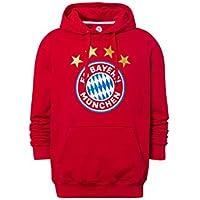 FC Bayern München Hoodie Logo rot, Kapuzenpullover mit Brusttasche