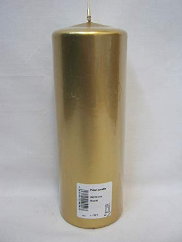 8e601ece7d45a RAL Metallic Gold Pillar Church Candle 200mm x 70mm