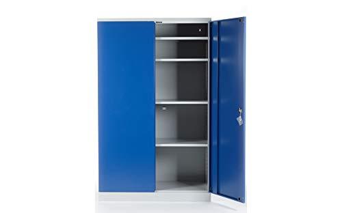 Stahlschrank Werkstattschrank Aktenschrank grau/blau | Höhe 195 cm - KOMPLETT MONTIERT (60, 120) - Komplett Aktenschränke Montiert
