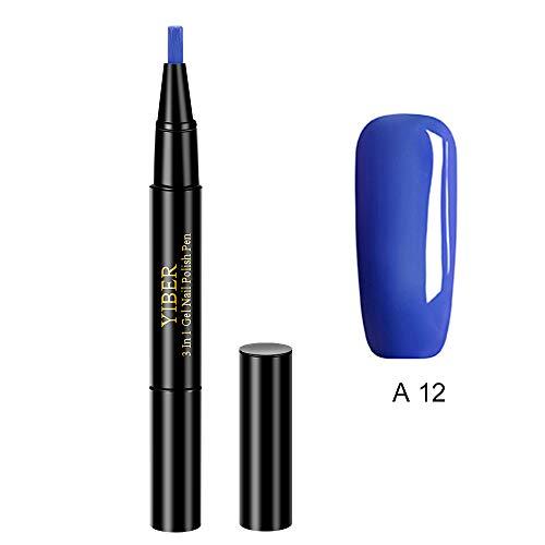 Nagellack Stift, Anself 3-in-1 pen nail art One Step Gel Pen, 20 Farben Nagel Kunst Feder Nageldesign Stift DIY Glitter Nail Art Pen UV Gel Nail Polish Pens für Nail Art Salon