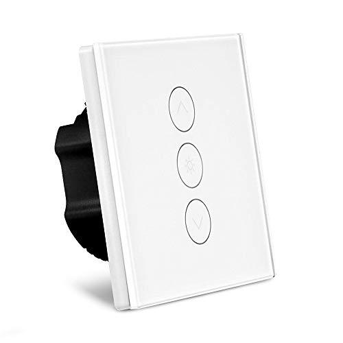 Dimmer Schalter Alexa, Random 1 Gang 2A 400W Touchschalter Sensor Panel Kompatibel mit Alexa / Google Startseite / IFTTT Wifi Wandlichtschalter Timer Android iOS Weiß (NEUTRALER DRAHT BENÖTIGT)