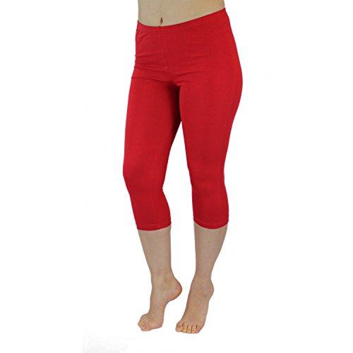 Blickdichte Leggings für Damen Capri Hose Leggins Bunt aus Baumwolle 3/4 Länge, Farbe: Rot, Größe: 44-46 (3/4 Länge Leggings)