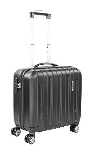 Traveller Handgepäck Trolley mit Rollen, Mobiles Büro 20L, Laptop Koffer, Kleiner Business Hartschalen Rollkoffer mit Gepäckfach und Organisationsfach, Schwarz -
