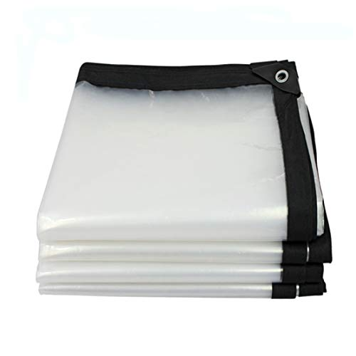 MFASD Lona Transparente con Ojales Impermeable, Lona de plástico Transparente Bordes Reforzados Rip-Stop, Lona Multiusos Jardines/Piscinas/tejados/Muebles,Transparent_2x4.5m/6x13.5ft