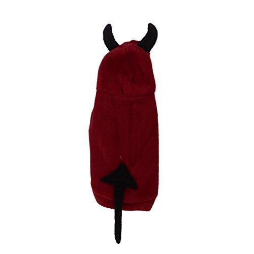 Hunde Kostüm Teufel - Haustier Hund Press Button Teufel-ArtHoodie Kostüm Mantel S Schwarz Rot