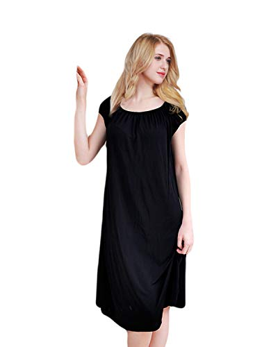 ETAOLINE Womens Nightdress Long Silky Nightwear Ladies Jersey Nightshirt Nightie, Sizes 10-12, 14-16, 18-20, 22-24
