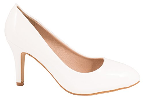 Elara Damen Pumps | Stiletto High Heels | Abendschuh Metallic Bianco