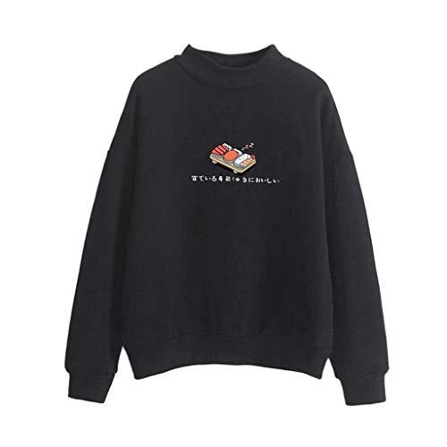 Qmber Damen Sweater Bluse Pullover Casual Lose Druck Frühling Herbst Schulterfrei Sweatshirt Lange Ärmel Oberteile Tops Sushi Gedruckt Polyester Lässig ()
